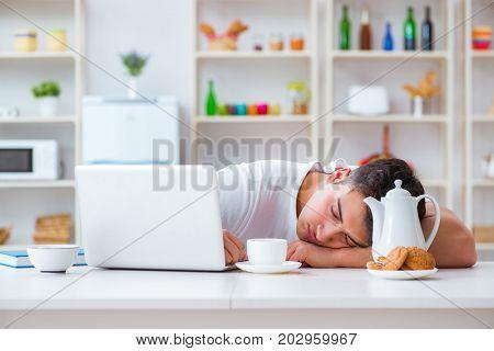 Freelancer falling asleep after long night