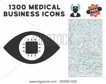 Bionic Eye Circuit gray vector icon with 1300 healthcare commerce symbols. Clipart style is flat bicolor light blue and gray pictograms.