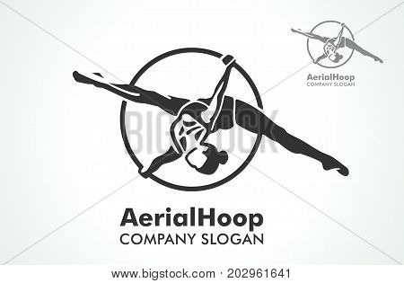 Woman hanging in aerial ring, isolated on white. Aerial hoop line art present beautiful strong and flexible dance and fitness. Dance Studio. Sport. Vector Illustration. Logo.