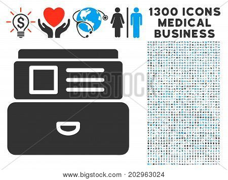 Card Index grey vector icon with 1300 health care commerce symbols. Set style is flat bicolor light blue and gray pictograms.