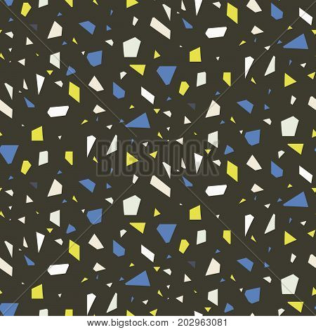Terrazzo flooring dark seamless vector pattern. Gray, green and blue colors repeating background.