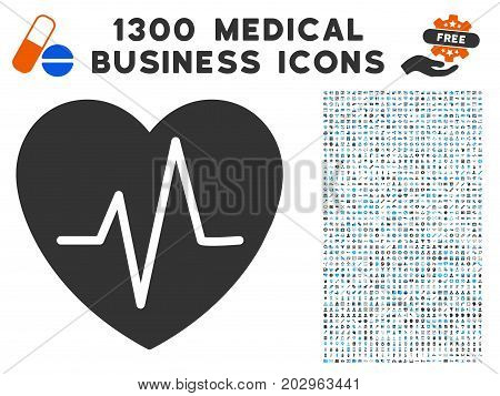 Cardiology Heart Pulse grey vector icon with 1300 clinic commercial icons. Set style is flat bicolor light blue and gray pictograms.