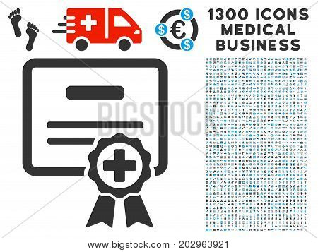 Certification gray vector icon with 1300 health care commercial pictograms. Clipart style is flat bicolor light blue and gray pictograms.