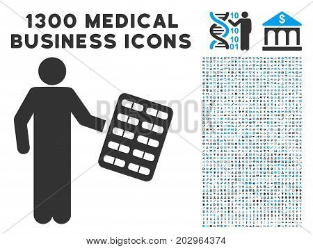 Chemist With Blister gray vector icon with 1300 medical commerce pictograms. Collection style is flat bicolor light blue and gray pictograms.