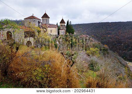 Motsameta Monastery Located On Breathtaking Cliff-top Promontory Above A Bend Of The Tskhaltsitela R