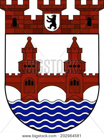 Coat of arms of Friedrichshain-Kreuzberg is the second borough of Berlin Germany. Vector illustration from the