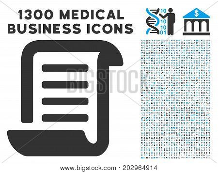 Conclusion Roll Document gray vector icon with 1300 clinic commercial icons. Collection style is flat bicolor light blue and gray pictograms.