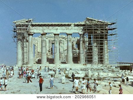 Parthenon, Acropolis, Athens. Ancient Constructions Of The Departed Civilizations. Slides From The F