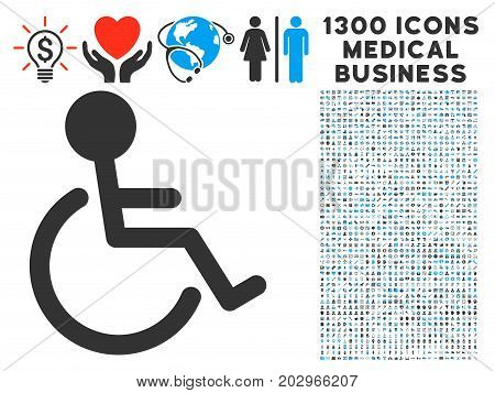 Disabled Person gray vector icon with 1300 health care commerce pictographs. Clipart style is flat bicolor light blue and gray pictograms.