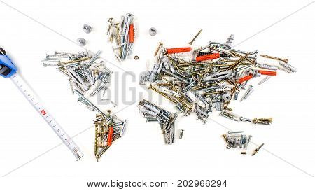 Map Of The World Made Of Screws, Fasteners And Other Mechanical Tools With Measuring Tape