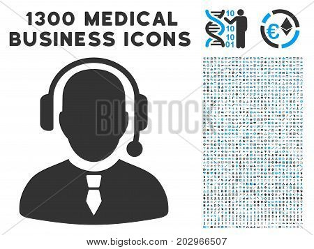 Dispatcher gray vector icon with 1300 doctor commerce symbols. Collection style is flat bicolor light blue and gray pictograms.