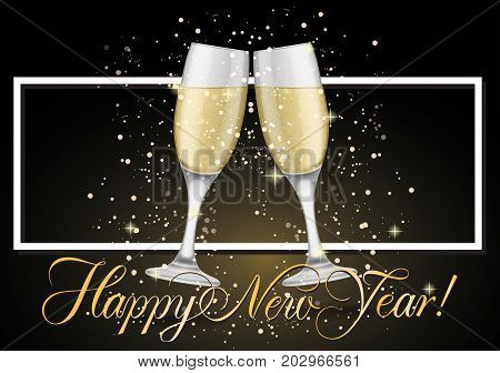 Happy New Year lettering. New Year Day greeting card with two clinked goblets. Handwritten text, calligraphy. For greeting cards, posters, leaflets and brochures.