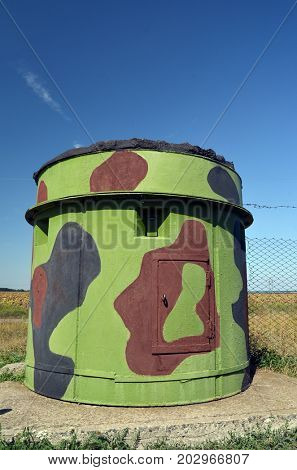 Pillbox of guard..Museum of Soviet Strategic Nuclear Forces.POBUGSKOE, UKRAINE - September 2, 2017