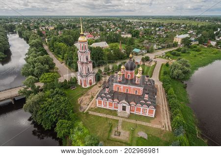 Aerial view of Cathedral of Holy Resurrection Cathedral on the river Polist in Staraya Russa