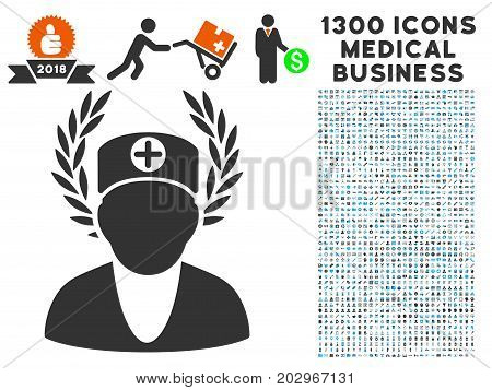 Doctor Laurel Wreath grey vector icon with 1300 healthcare commerce pictograms. Collection style is flat bicolor light blue and gray pictograms.