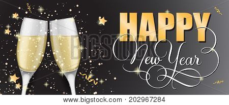 Happy New Year lettering. New Year Day greeting card with two clinked goblets of champagne. Handwritten and typed text, calligraphy. For greeting cards, posters, leaflets and brochures.