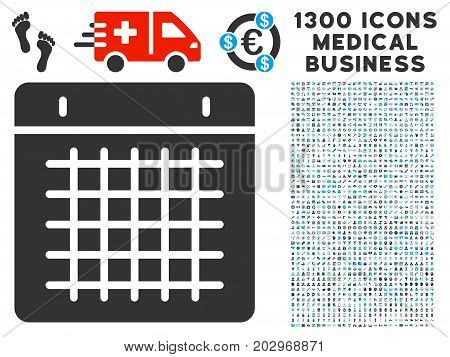 Duty Timetable gray vector icon with 1300 doctor business icons. Clipart style is flat bicolor light blue and gray pictograms.