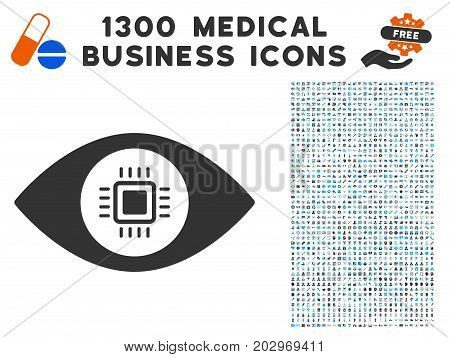 Electronic Vision Lens grey vector icon with 1300 medicine commerce pictograms. Clipart style is flat bicolor light blue and gray pictograms.