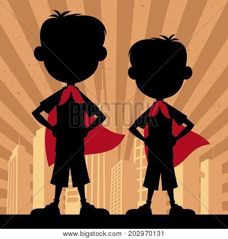 Square banner of 2 super boys with waving red capes.