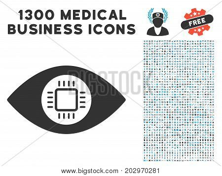 Eye Lens Processor grey vector icon with 1300 medicine commercial icons. Collection style is flat bicolor light blue and gray pictograms.