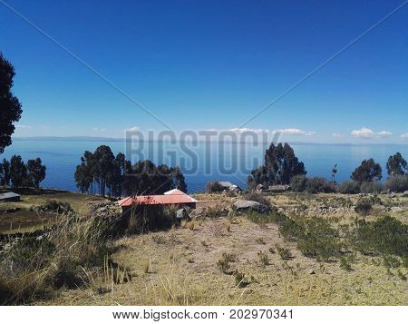 View of Lake Titicaca from the island of Taquile located in the city of Puno - Peru