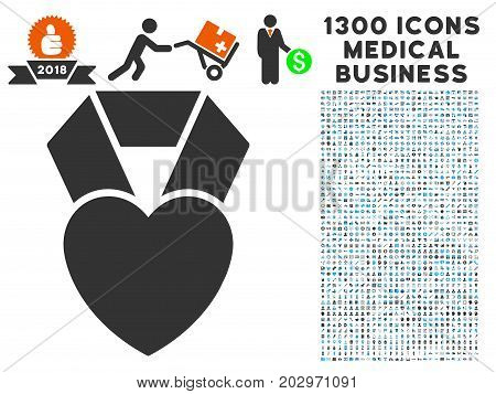 Favorite Heart Award grey vector icon with 1300 medical commerce pictograms. Collection style is flat bicolor light blue and gray pictograms.