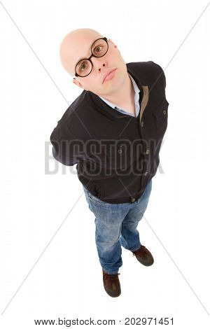 young silly casual man full body in a white background