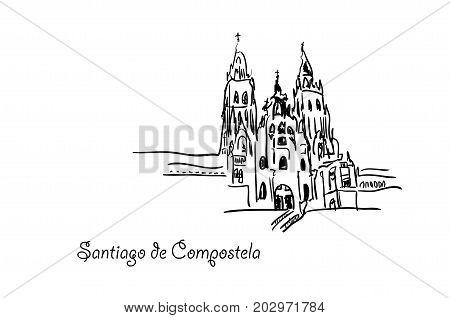 Santiago de Compostela outline. Vector 10 eps