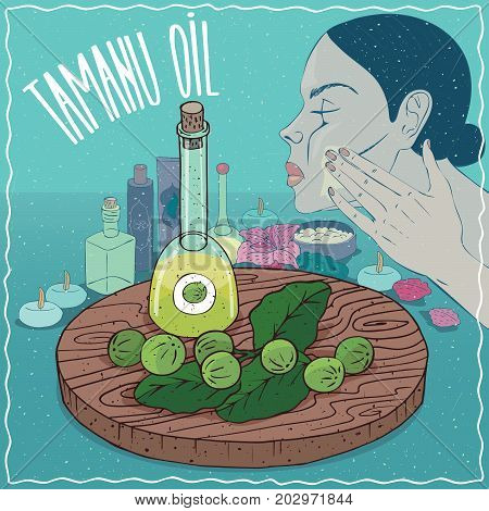 Glass Decanter of Tamanu oil and fruits and leaves of Calophyllum plant. Girl applying facial mask on face. Natural vegetable oil used for skin care