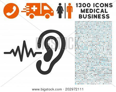 Hearing Signal gray vector icon with 1300 healthcare commerce pictographs. Clipart style is flat bicolor light blue and gray pictograms.