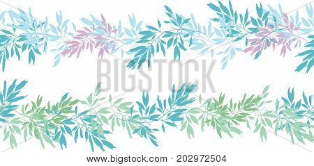 Vector blue pink tropical leaves summer horizontal seamless pattern borders set with tropical pink, blue plants and leaves on white background. Great for vacation themed fabric, wallpaper, packaging. Surface pattern