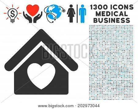 Hospice gray vector icon with 1300 medical commerce symbols. Clipart style is flat bicolor light blue and gray pictograms.