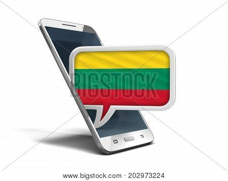3d illustration. Touchscreen smartphone and Speech bubble with Lithuanian flag. Image with clipping path