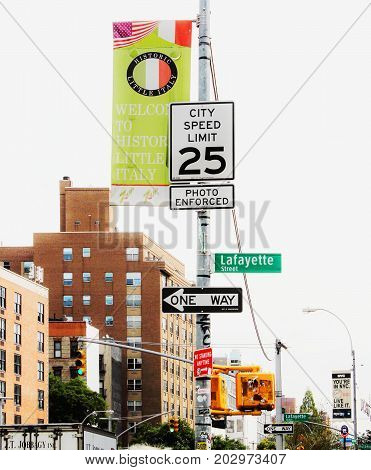 New York USA - 27 September 2016: Sign Post at the intersection of Houston and Lafayette Streets Downtown Manhattan in New York City.