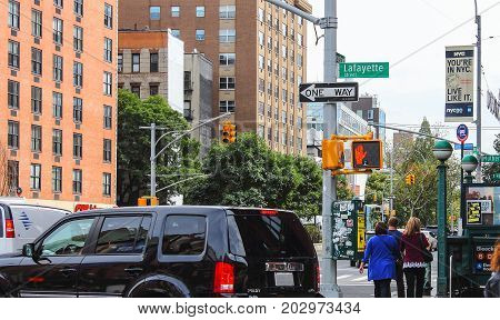 New York USA - 27 September 2016: Downtown Lower Manhattan at the intersection of Houston and Lafayette streets.