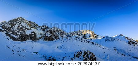 Snow in winter season, mountains. South Tirol, Solda in Italy.