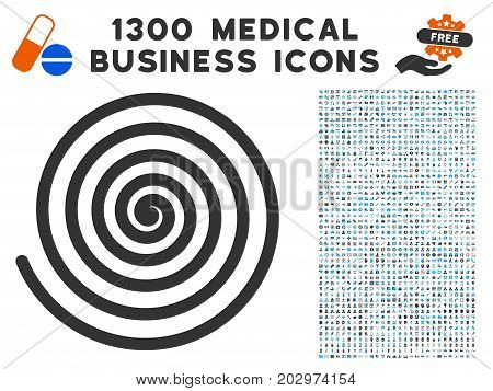 Hypnosis Spiral grey vector icon with 1300 doctor business pictograms. Collection style is flat bicolor light blue and gray pictograms.