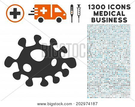 Infection Cell grey vector icon with 1300 medical commerce symbols. Collection style is flat bicolor light blue and gray pictograms.