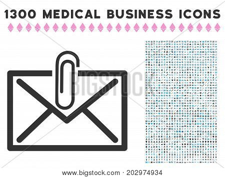 Mail Attachment gray vector icon with 1300 medicine commercial pictographs. Collection style is flat bicolor light blue and gray pictograms.