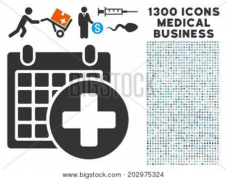 Medical Appointment gray vector icon with 1300 doctor commerce pictograms. Set style is flat bicolor light blue and gray pictograms.