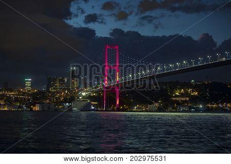 Bosphorus Bridge during night in Istanbul