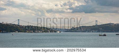 Bosphorus Panorama with Bridges in Istanbul