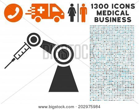 Medical Inject Robot gray vector icon with 1300 medical business icons. Collection style is flat bicolor light blue and gray pictograms.