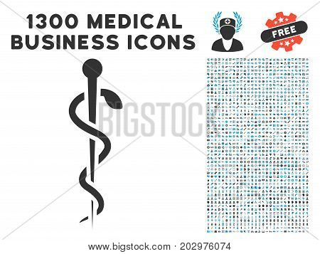 Medical Needle grey vector icon with 1300 health care business pictographs. Set style is flat bicolor light blue and gray pictograms.
