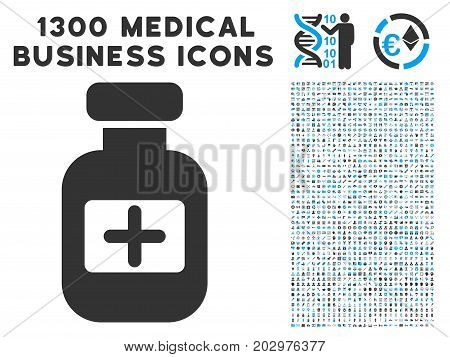 Medication Phial grey vector icon with 1300 healthcare commercial pictographs. Set style is flat bicolor light blue and gray pictograms.