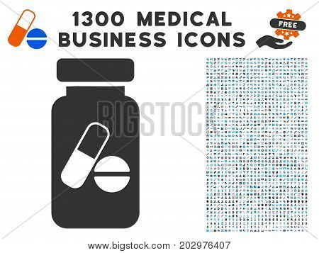 Medication Vial grey vector icon with 1300 medical business icons. Collection style is flat bicolor light blue and gray pictograms.