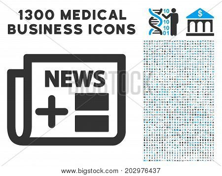 Medicine Newspaper grey vector icon with 1300 medicine business pictographs. Clipart style is flat bicolor light blue and gray pictograms.
