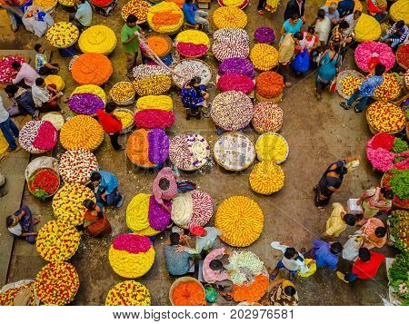 BANGALORE, INDIA - June 06 2017: Flower sellers at KR Market in Bangalore. in Bangalore, India.