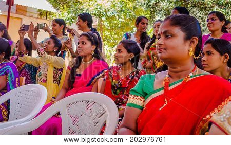 JAIPUR, INDIA - FEBRUARY 25, 2017: Group of women are visiting center for women empowerment in Jaipur, India.