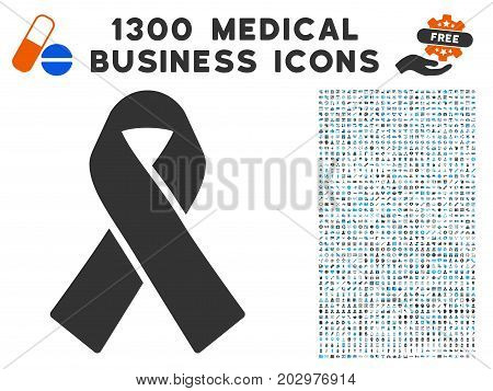 Mourning Ribbon grey vector icon with 1300 healthcare commerce symbols. Clipart style is flat bicolor light blue and gray pictograms.
